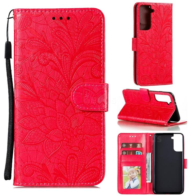 Intricate Embossing Lace Jasmine Flower Leather Wallet Case for Samsung Galaxy S21 Plus / S30 Plus - Red