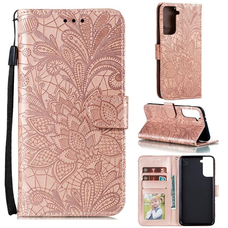 Intricate Embossing Lace Jasmine Flower Leather Wallet Case for Samsung Galaxy S21 Plus / S30 Plus - Rose Gold