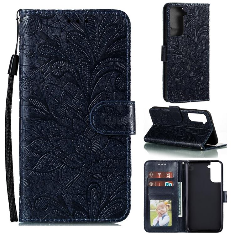 Intricate Embossing Lace Jasmine Flower Leather Wallet Case for Samsung Galaxy S21 Plus / S30 Plus - Dark Blue