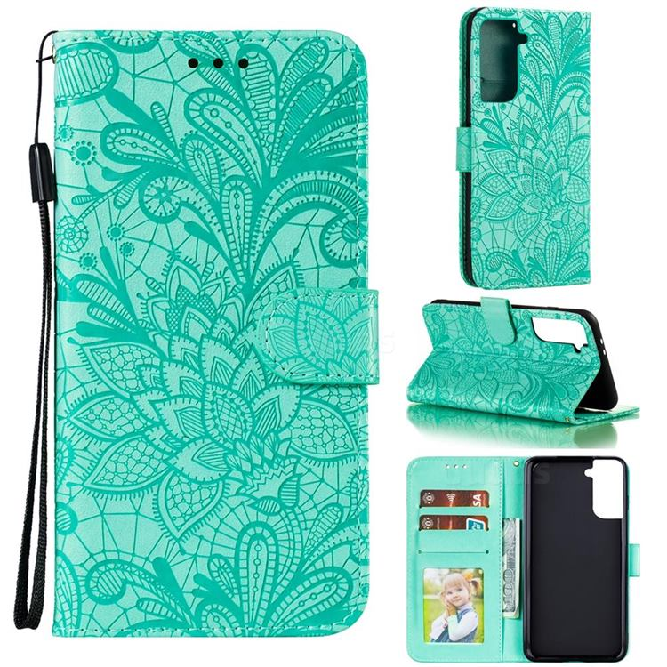 Intricate Embossing Lace Jasmine Flower Leather Wallet Case for Samsung Galaxy S21 Plus / S30 Plus - Green
