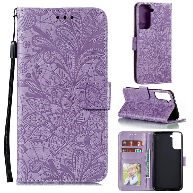 Intricate Embossing Lace Jasmine Flower Leather Wallet Case for Samsung Galaxy S21 Plus / S30 Plus - Purple