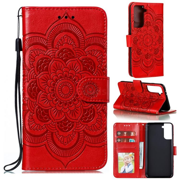 Intricate Embossing Datura Solar Leather Wallet Case for Samsung Galaxy S21 Plus / S30 Plus - Red