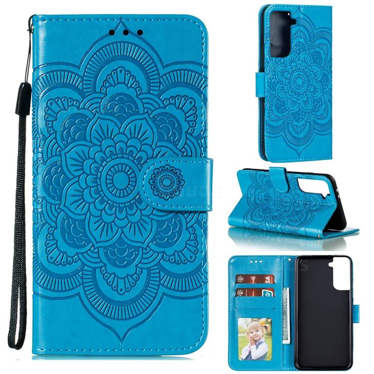 Intricate Embossing Datura Solar Leather Wallet Case for Samsung Galaxy S21 Plus / S30 Plus - Blue