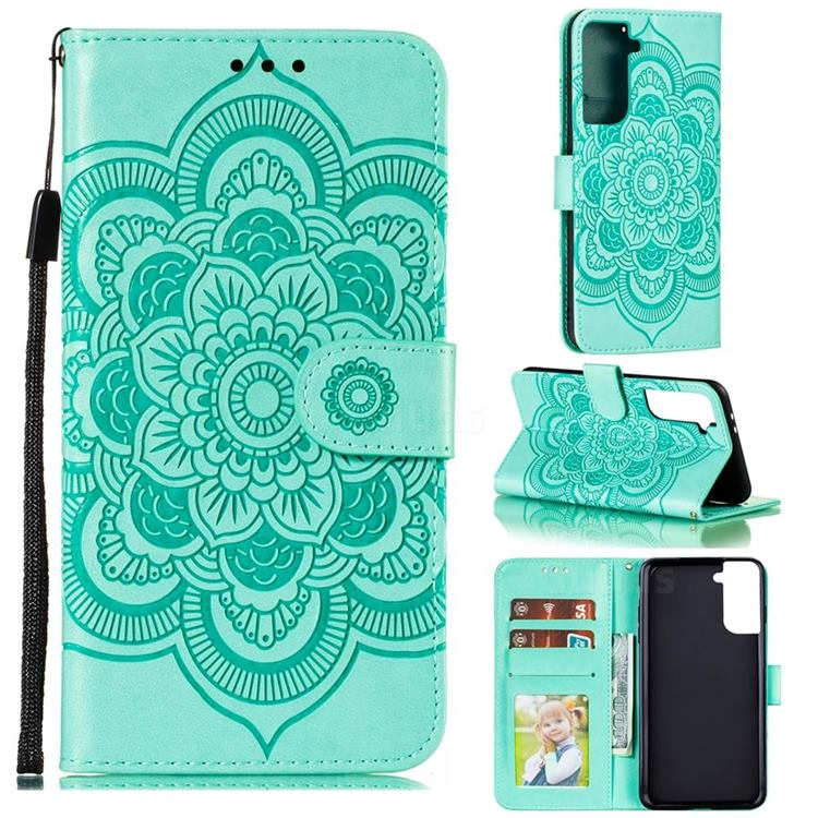 Intricate Embossing Datura Solar Leather Wallet Case for Samsung Galaxy S21 Plus / S30 Plus - Green