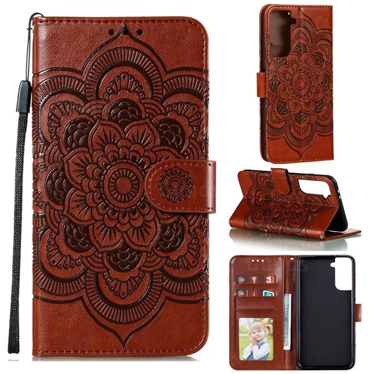 Intricate Embossing Datura Solar Leather Wallet Case for Samsung Galaxy S21 Plus / S30 Plus - Brown