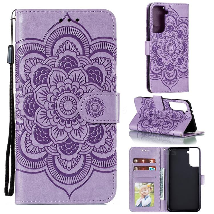 Intricate Embossing Datura Solar Leather Wallet Case for Samsung Galaxy S21 Plus / S30 Plus - Purple