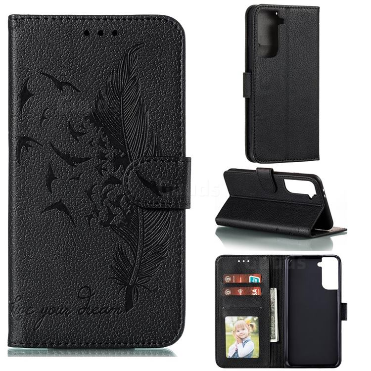 Intricate Embossing Lychee Feather Bird Leather Wallet Case for Samsung Galaxy S21 Plus / S30 Plus - Black