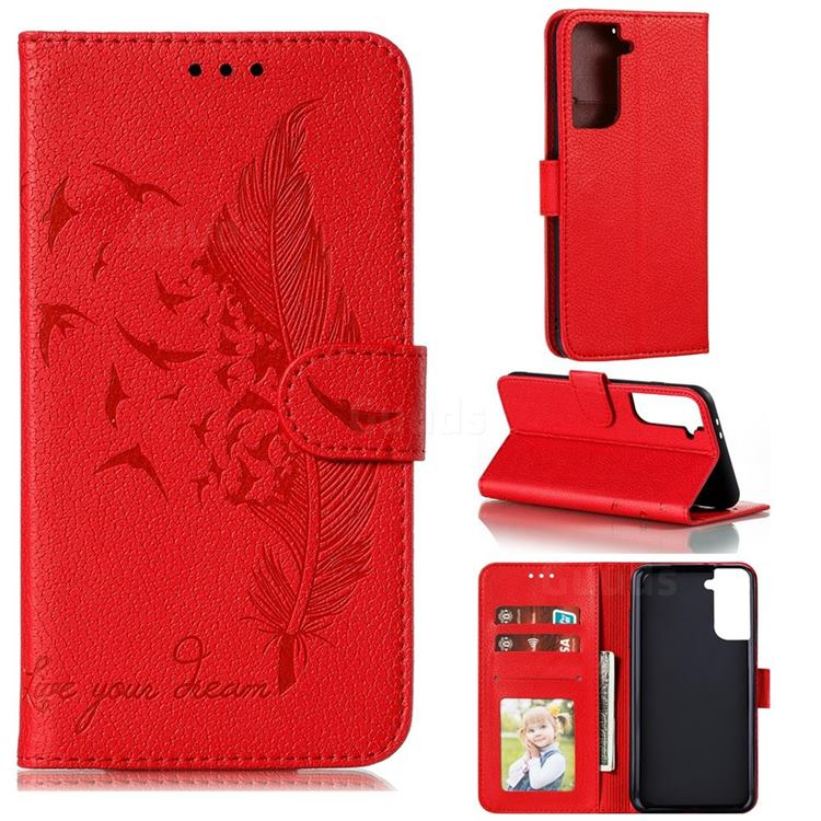 Intricate Embossing Lychee Feather Bird Leather Wallet Case for Samsung Galaxy S21 Plus / S30 Plus - Red