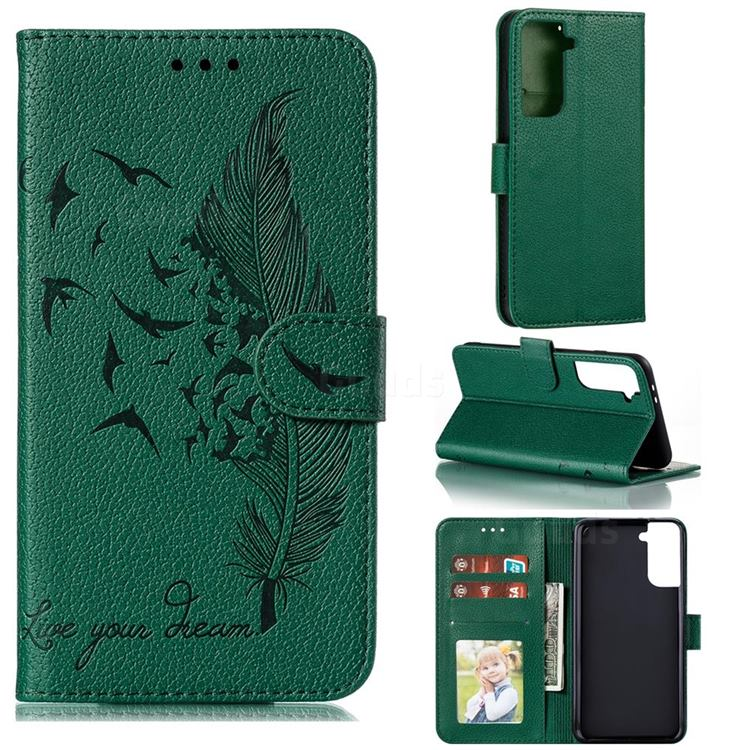 Intricate Embossing Lychee Feather Bird Leather Wallet Case for Samsung Galaxy S21 Plus / S30 Plus - Green
