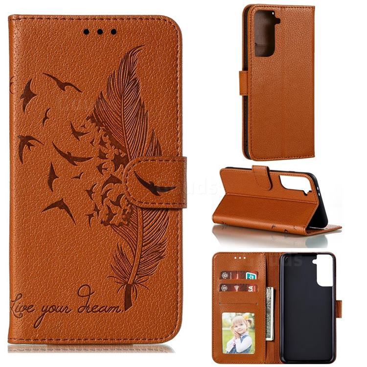Intricate Embossing Lychee Feather Bird Leather Wallet Case for Samsung Galaxy S21 Plus / S30 Plus - Brown