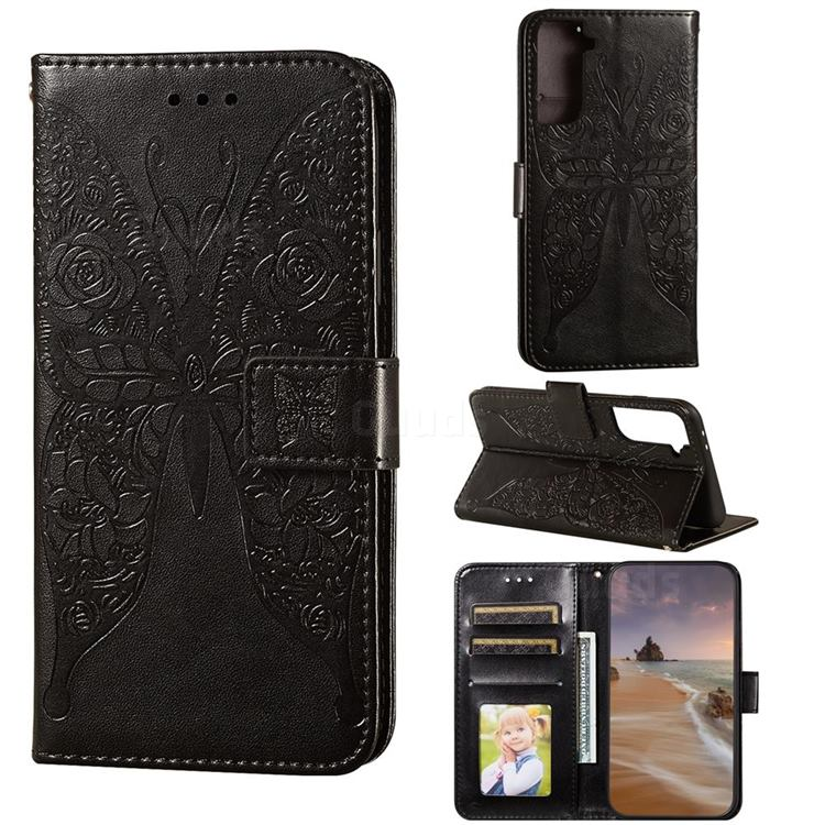 Intricate Embossing Rose Flower Butterfly Leather Wallet Case for Samsung Galaxy S21 Plus / S30 Plus - Black
