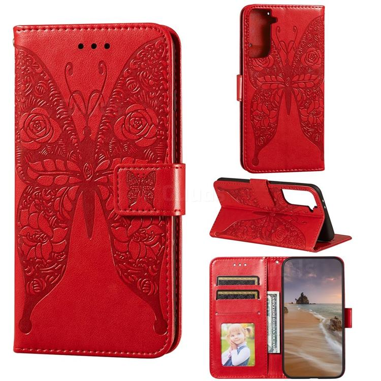 Intricate Embossing Rose Flower Butterfly Leather Wallet Case for Samsung Galaxy S21 Plus / S30 Plus - Red