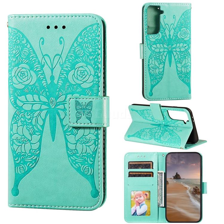 Intricate Embossing Rose Flower Butterfly Leather Wallet Case for Samsung Galaxy S21 Plus / S30 Plus - Green