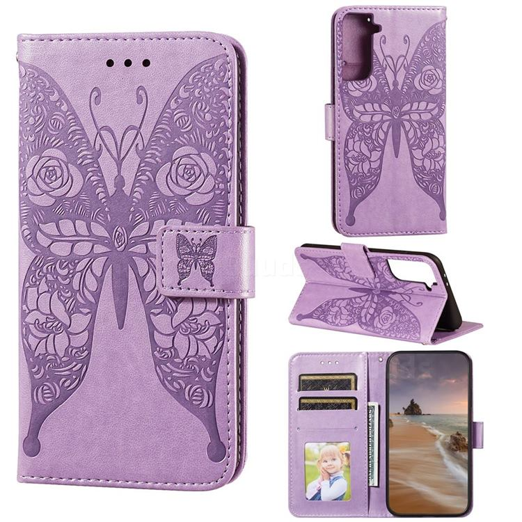 Intricate Embossing Rose Flower Butterfly Leather Wallet Case for Samsung Galaxy S21 Plus / S30 Plus - Purple