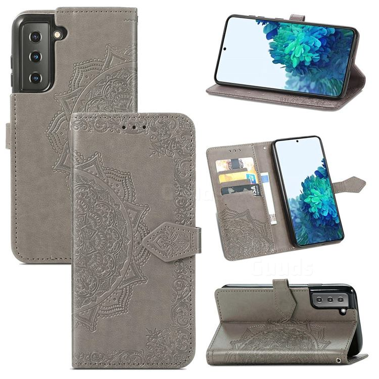 Embossing Imprint Mandala Flower Leather Wallet Case for Samsung Galaxy S21 Plus / S30 Plus - Gray