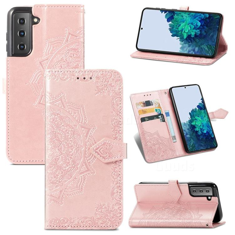 Embossing Imprint Mandala Flower Leather Wallet Case for Samsung Galaxy S21 Plus / S30 Plus - Rose Gold