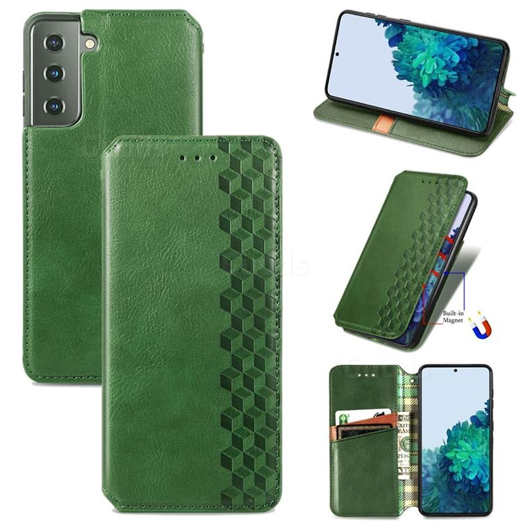 Ultra Slim Fashion Business Card Magnetic Automatic Suction Leather Flip Cover for Samsung Galaxy S21 Plus / S30 Plus - Green