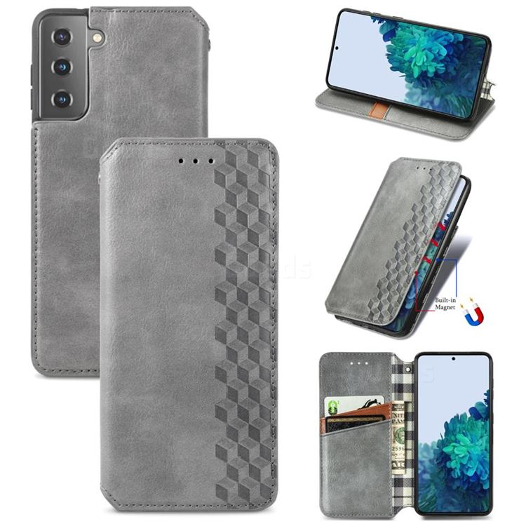 Ultra Slim Fashion Business Card Magnetic Automatic Suction Leather Flip Cover for Samsung Galaxy S21 Plus / S30 Plus - Grey
