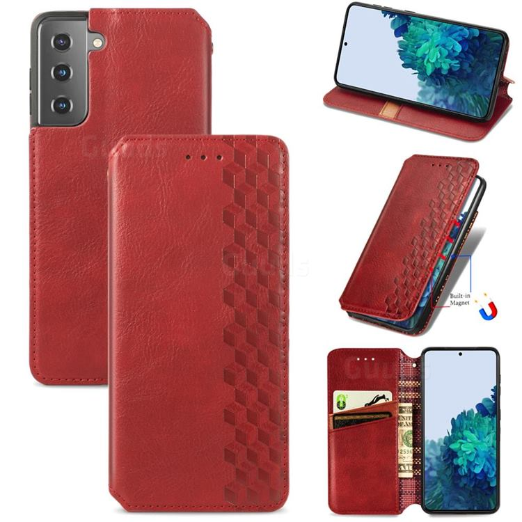 Ultra Slim Fashion Business Card Magnetic Automatic Suction Leather Flip Cover for Samsung Galaxy S21 Plus / S30 Plus - Red