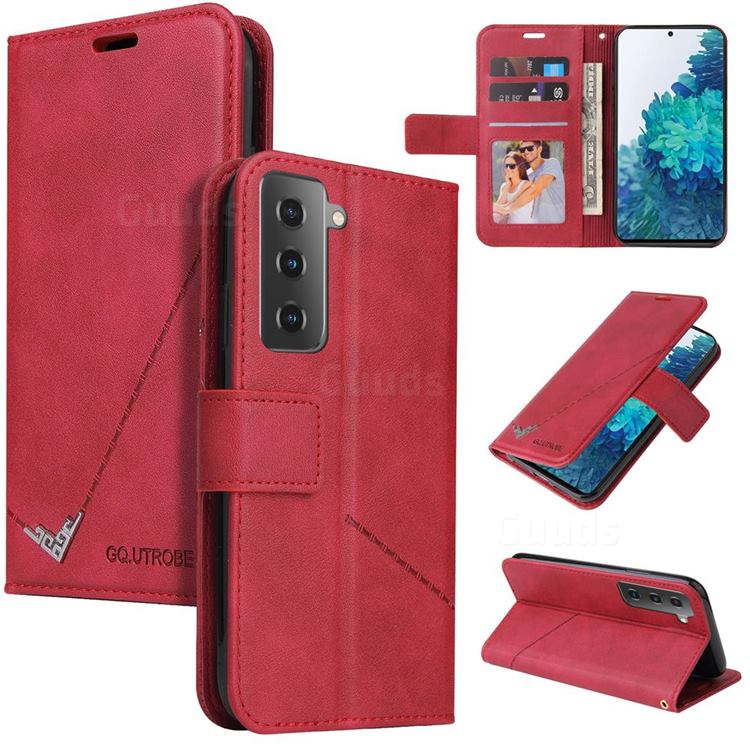 GQ.UTROBE Right Angle Silver Pendant Leather Wallet Phone Case for Samsung Galaxy S21 Plus / S30 Plus - Red