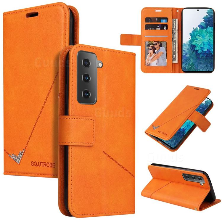 GQ.UTROBE Right Angle Silver Pendant Leather Wallet Phone Case for Samsung Galaxy S21 Plus / S30 Plus - Orange