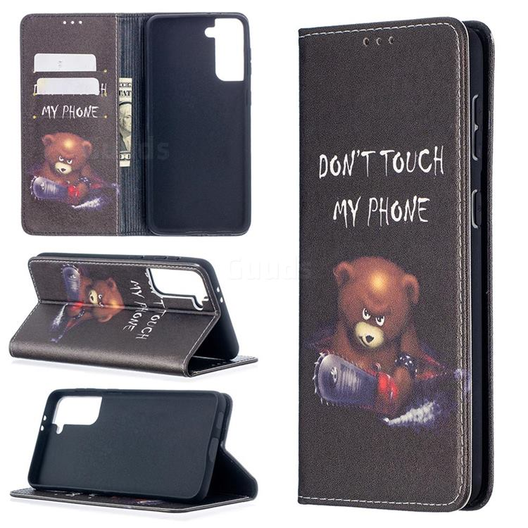 Chainsaw Bear Slim Magnetic Attraction Wallet Flip Cover for Samsung Galaxy S21 Plus / S30 Plus