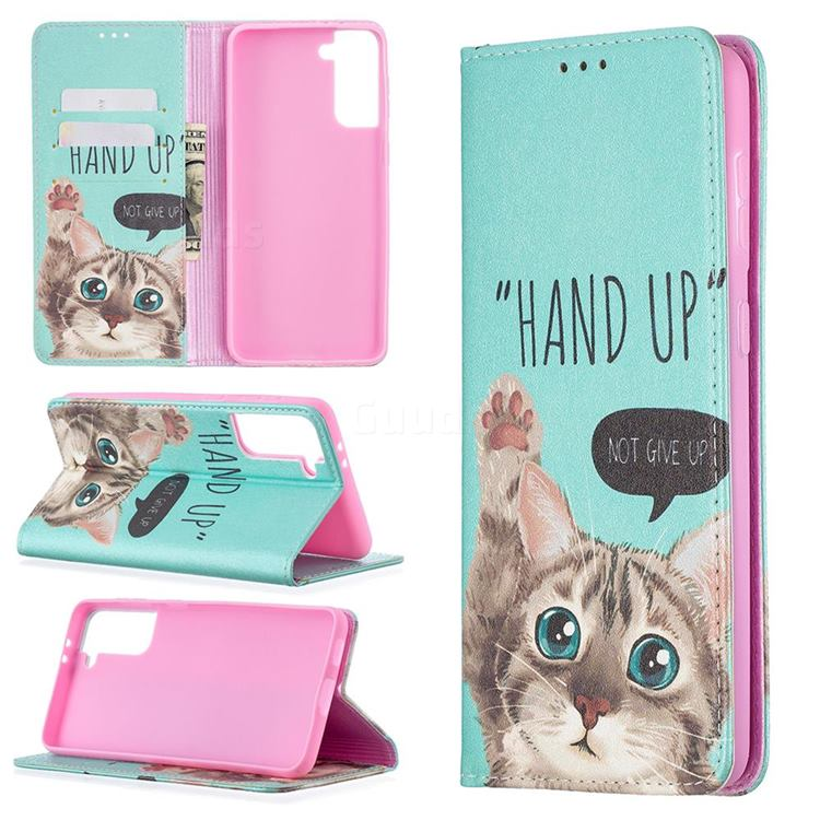 Hand Up Cat Slim Magnetic Attraction Wallet Flip Cover for Samsung Galaxy S21 Plus / S30 Plus