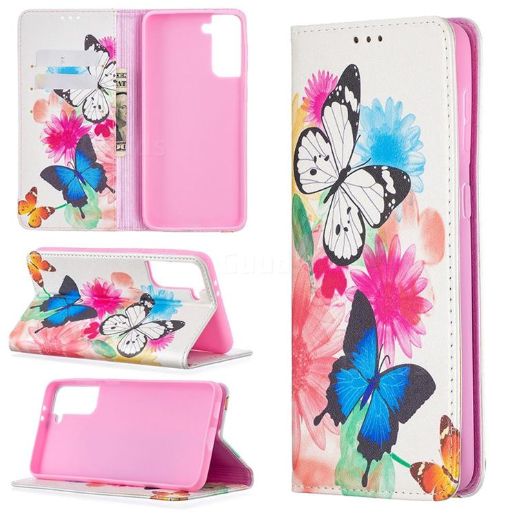 Flying Butterflies Slim Magnetic Attraction Wallet Flip Cover for Samsung Galaxy S21 Plus / S30 Plus