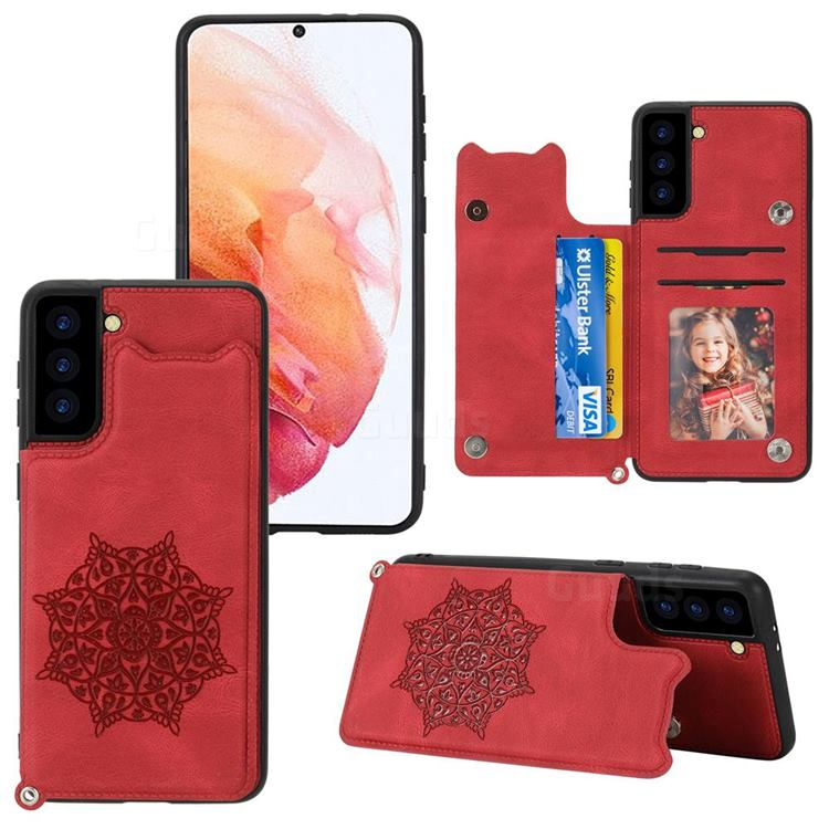 Luxury Mandala Multi-function Magnetic Card Slots Stand Leather Back Cover for Samsung Galaxy S21 Plus - Red