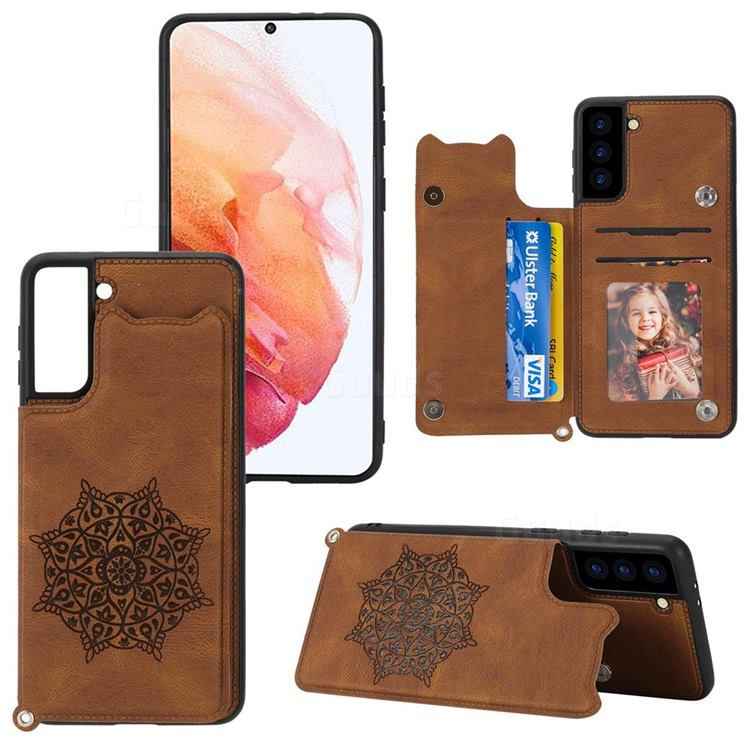 Luxury Mandala Multi-function Magnetic Card Slots Stand Leather Back Cover for Samsung Galaxy S21 Plus - Brown