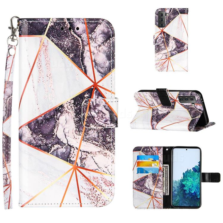 Black and White Stitching Color Marble Leather Wallet Case for Samsung Galaxy S21 Plus