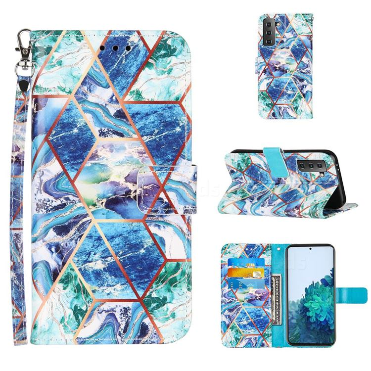 Green and Blue Stitching Color Marble Leather Wallet Case for Samsung Galaxy S21 Plus
