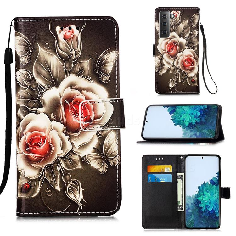 Black Rose Matte Leather Wallet Phone Case for Samsung Galaxy S21 Plus