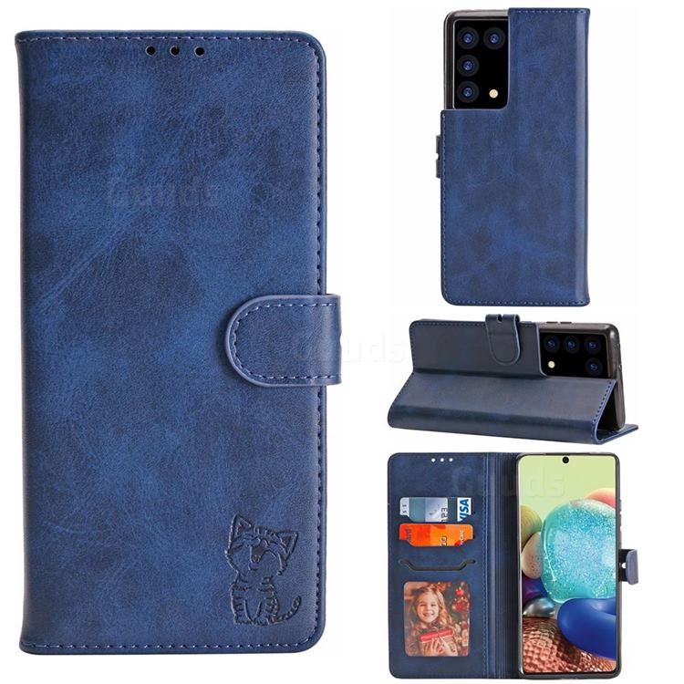 Embossing Happy Cat Leather Wallet Case for Samsung Galaxy S21 Plus - Blue