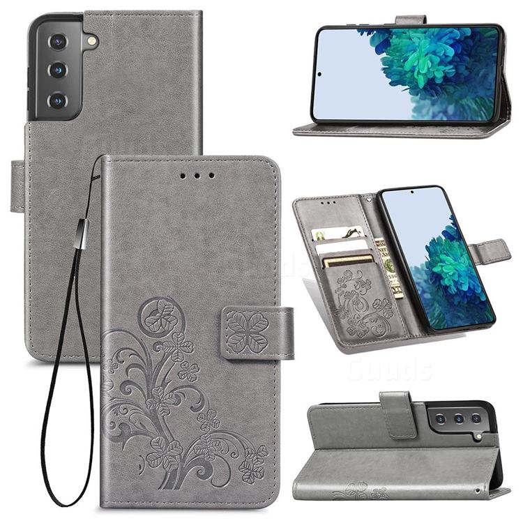 Embossing Imprint Four-Leaf Clover Leather Wallet Case for Samsung Galaxy S21 Plus - Grey