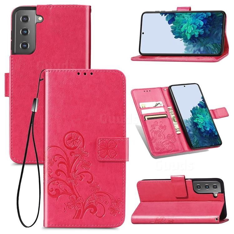 Embossing Imprint Four-Leaf Clover Leather Wallet Case for Samsung Galaxy S21 Plus - Rose Red