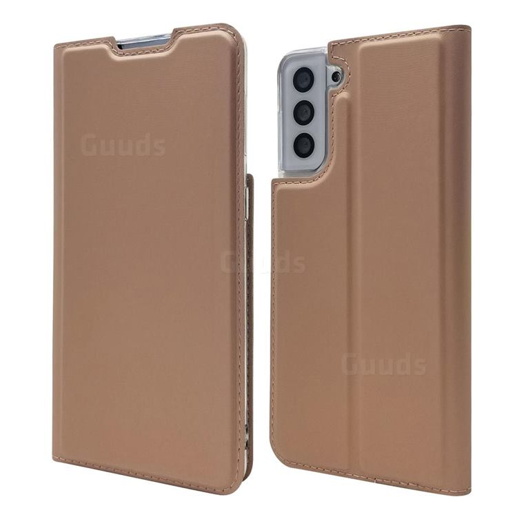 Ultra Slim Card Magnetic Automatic Suction Leather Wallet Case for Samsung Galaxy S21 Plus - Rose Gold