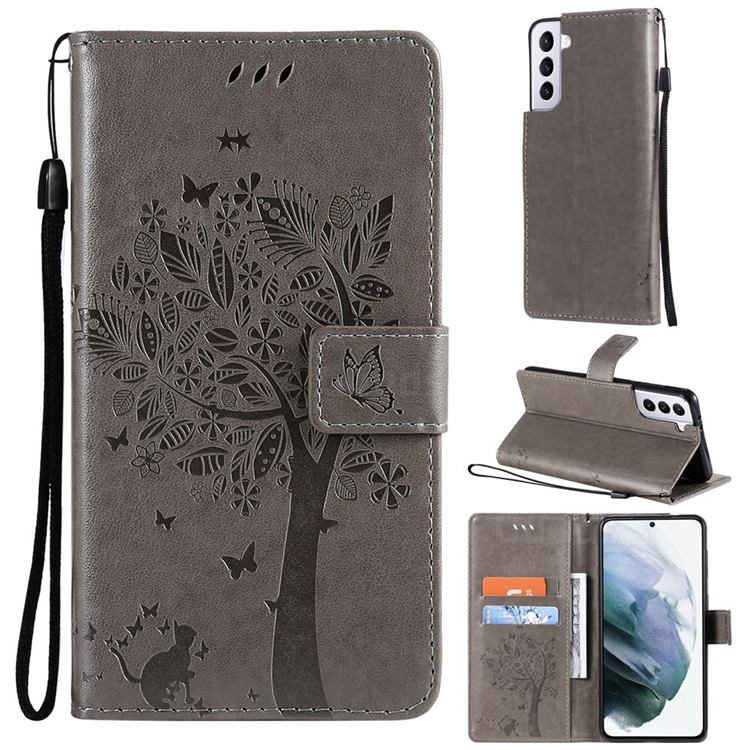 Embossing Butterfly Tree Leather Wallet Case for Samsung Galaxy S21 Plus - Grey
