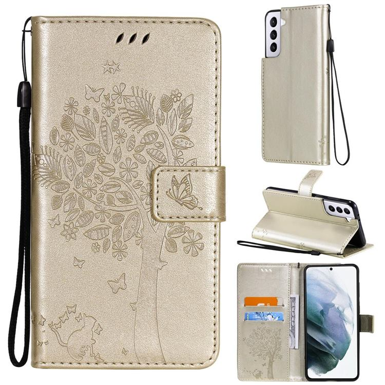 Embossing Butterfly Tree Leather Wallet Case for Samsung Galaxy S21 Plus - Champagne