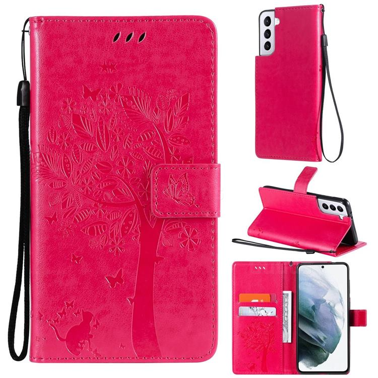 Embossing Butterfly Tree Leather Wallet Case for Samsung Galaxy S21 Plus - Rose