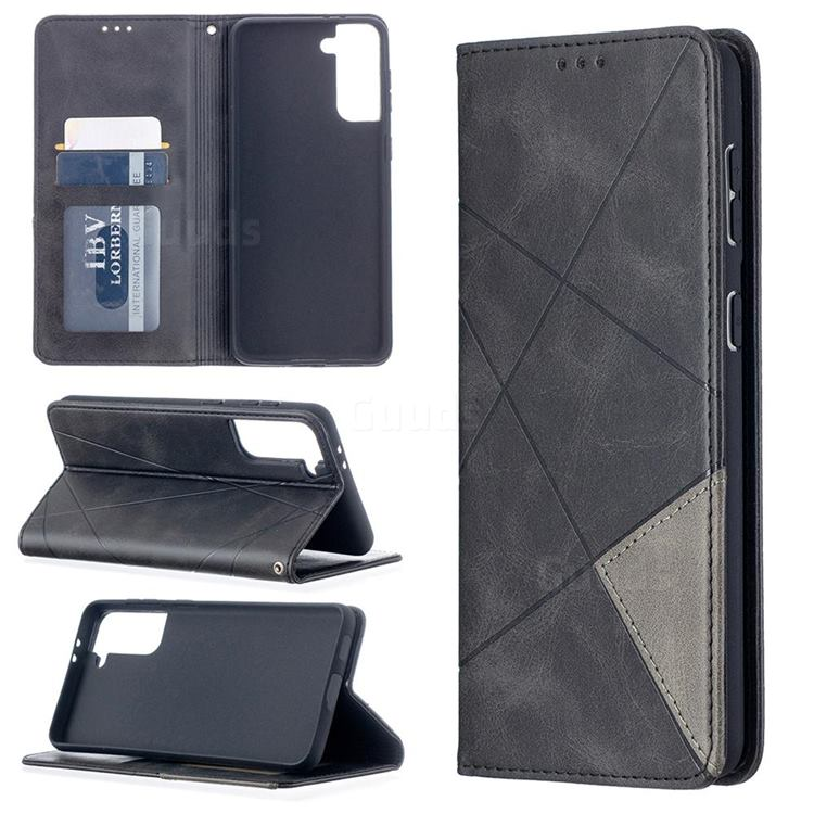 Prismatic Slim Magnetic Sucking Stitching Wallet Flip Cover for Samsung Galaxy S21 Plus - Black
