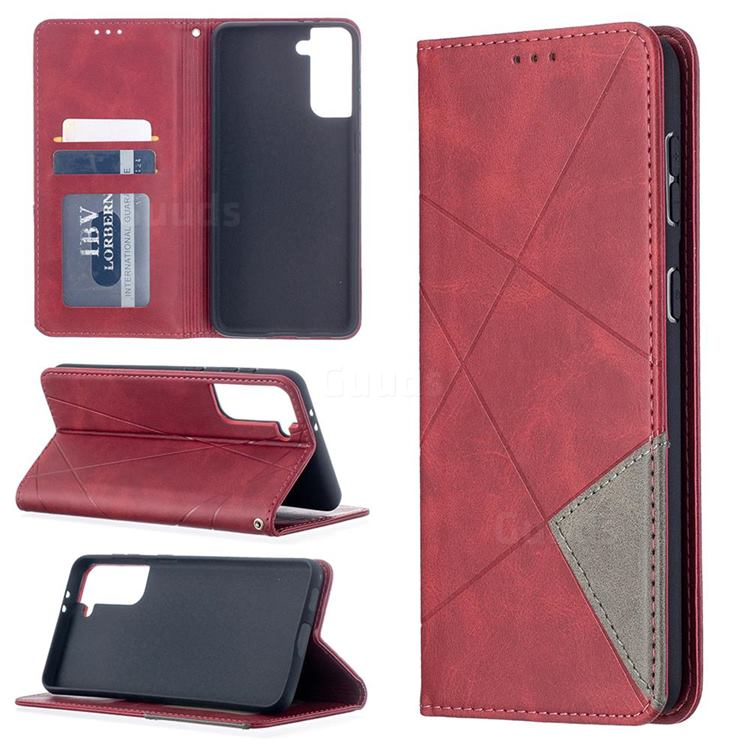 Prismatic Slim Magnetic Sucking Stitching Wallet Flip Cover for Samsung Galaxy S21 Plus - Red