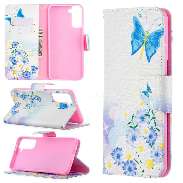 Butterflies Flowers Leather Wallet Case for Samsung Galaxy S21 Plus