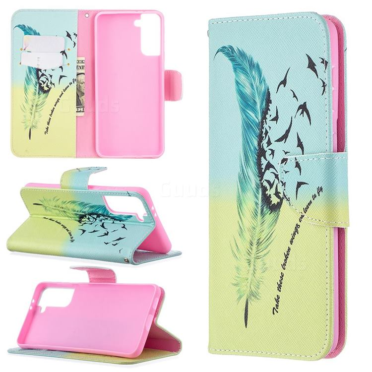 Feather Bird Leather Wallet Case for Samsung Galaxy S21 Plus