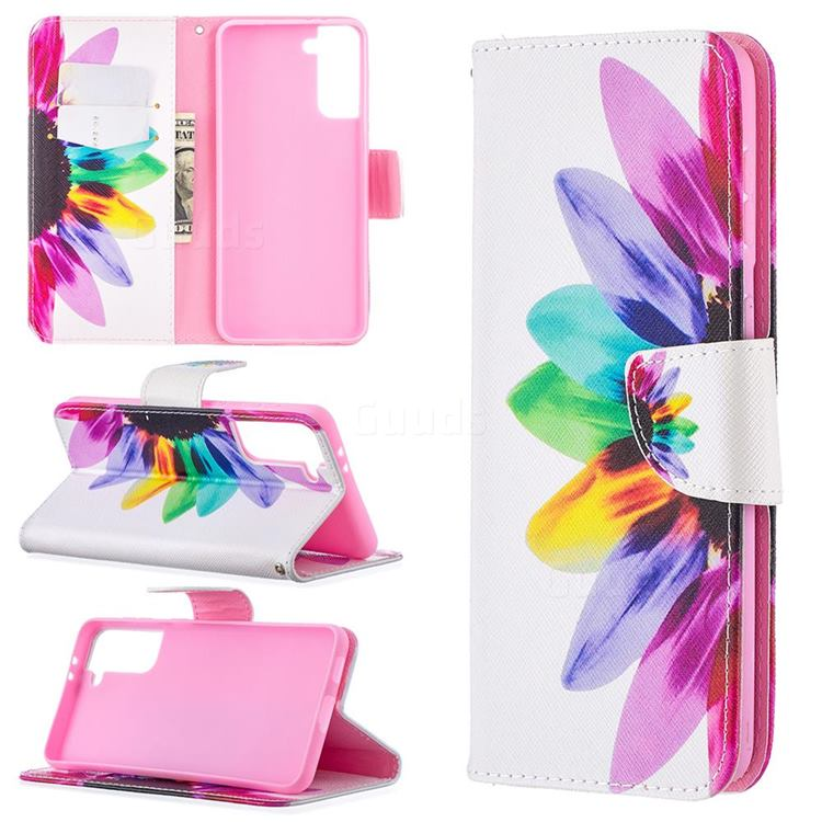 Seven-color Flowers Leather Wallet Case for Samsung Galaxy S21 Plus