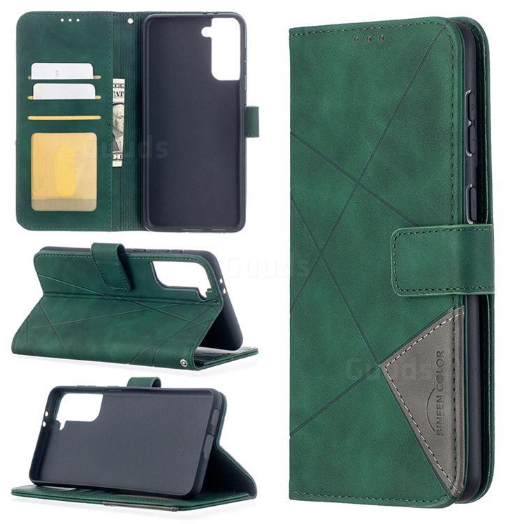 Binfen Color BF05 Prismatic Slim Wallet Flip Cover for Samsung Galaxy S21 Plus - Green