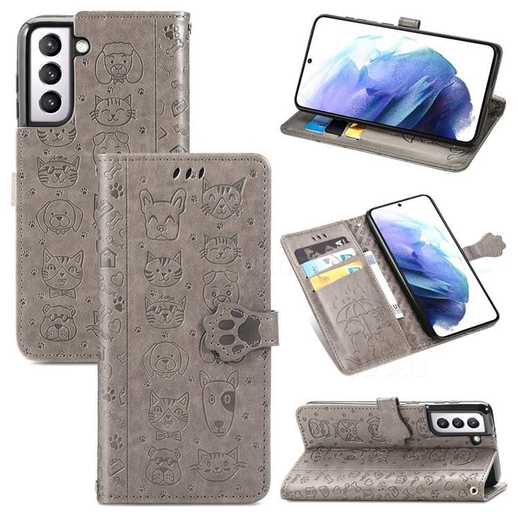 Embossing Dog Paw Kitten and Puppy Leather Wallet Case for Samsung Galaxy S21 Plus - Gray