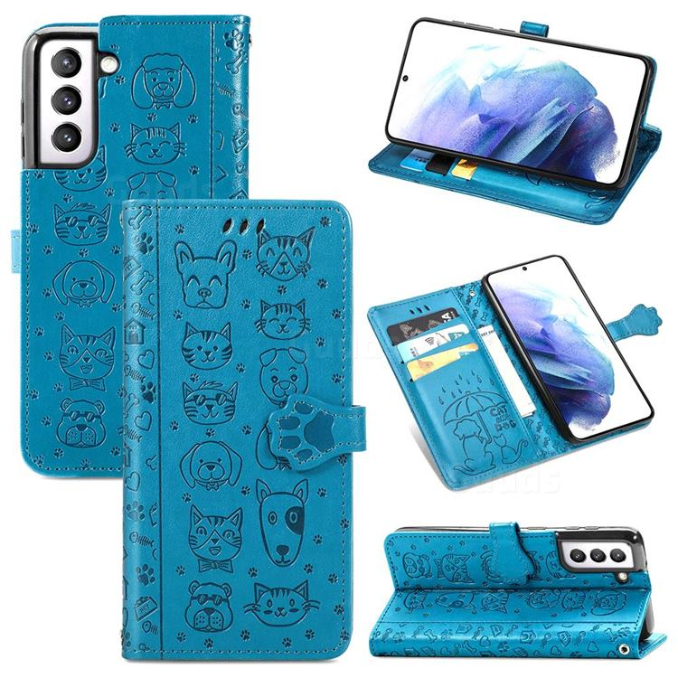 Embossing Dog Paw Kitten and Puppy Leather Wallet Case for Samsung Galaxy S21 Plus - Blue
