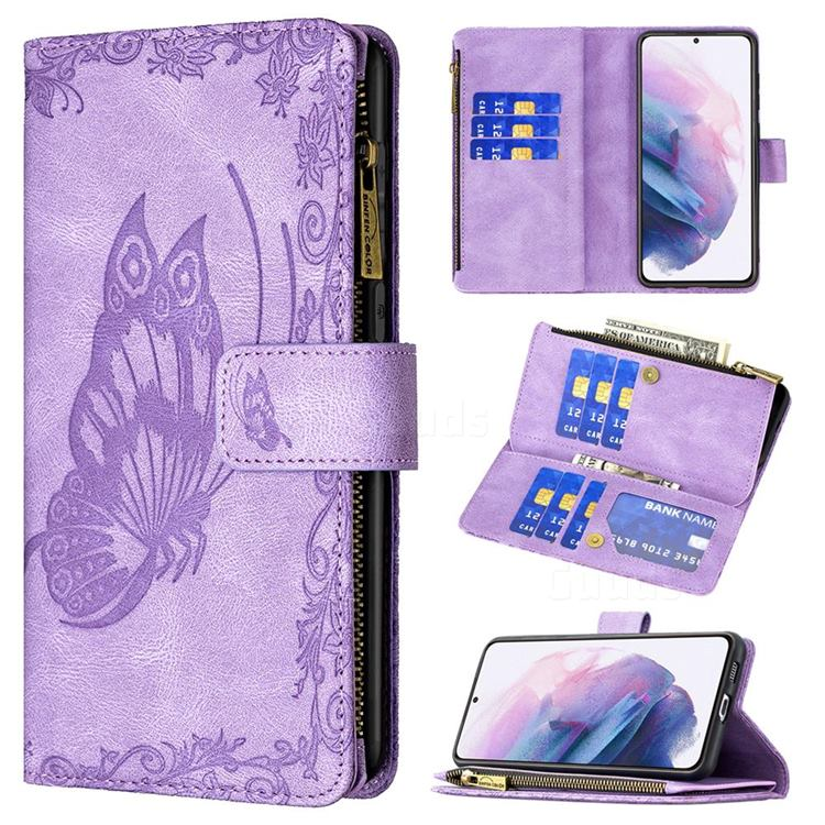 Binfen Color Imprint Vivid Butterfly Buckle Zipper Multi-function Leather Phone Wallet for Samsung Galaxy S21 Plus - Purple