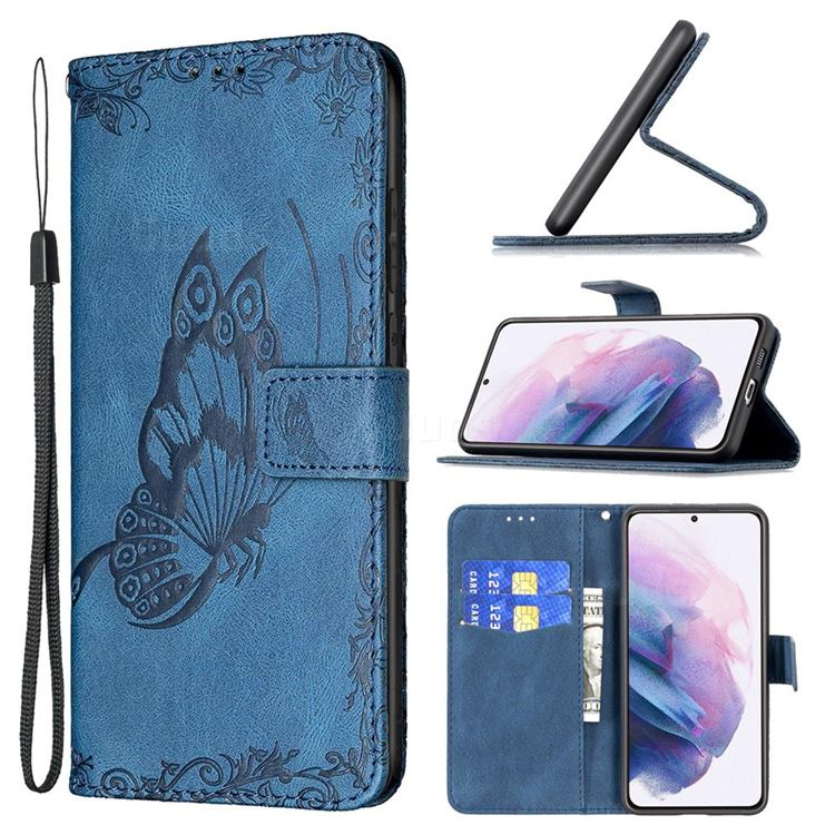 Binfen Color Imprint Vivid Butterfly Leather Wallet Case for Samsung Galaxy S21 Plus - Blue